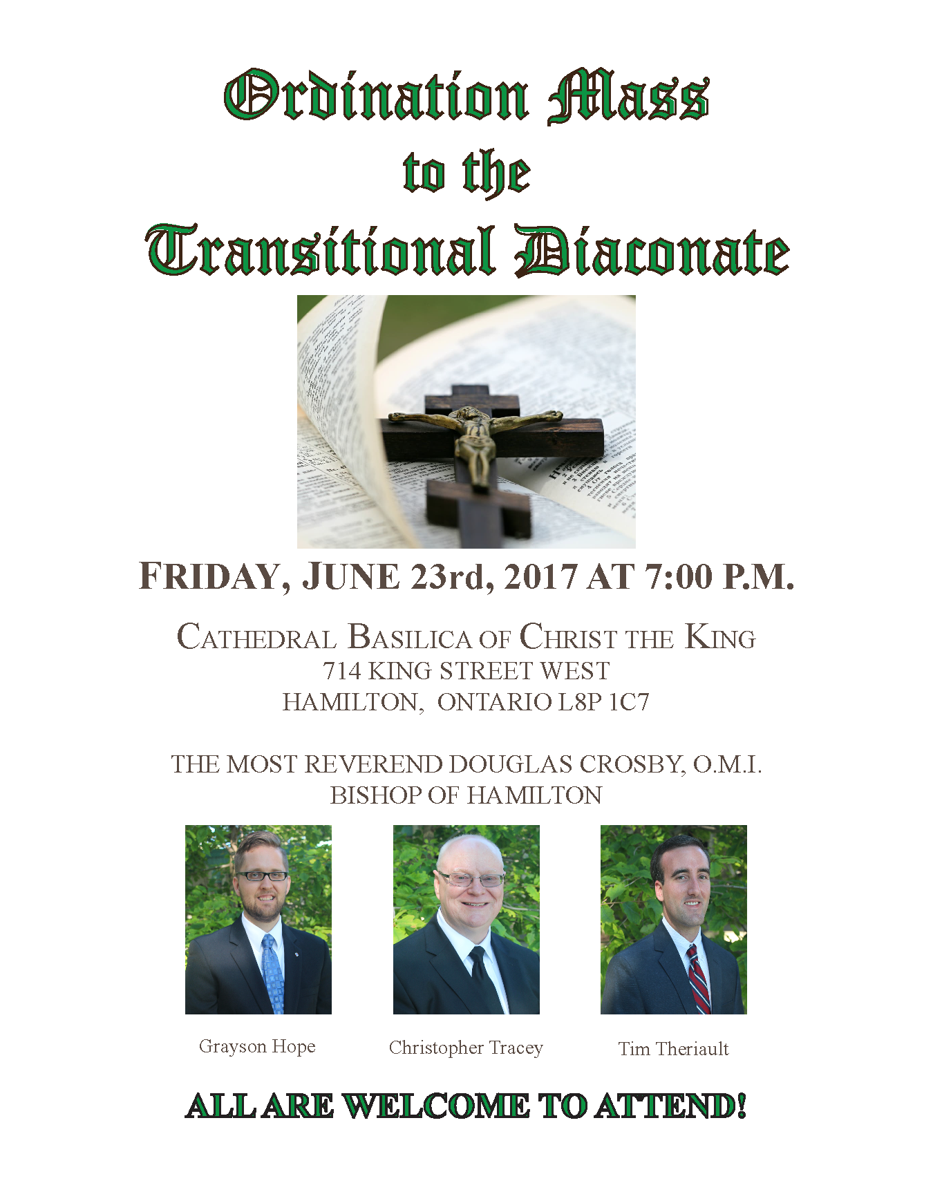 Ordination of  Grayson Hope, Christopher Tracey and Tim Theriault. Friday June 23rd