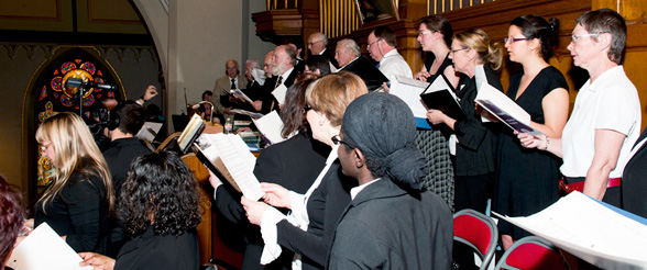 Congeregation and Choir singing